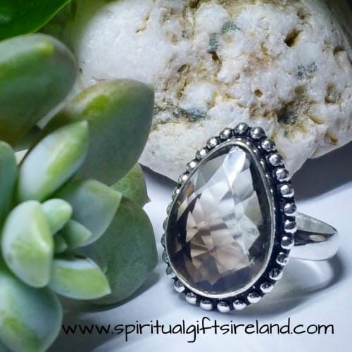 Smoky Quartz Teardrop Gemstone Crystal Ring