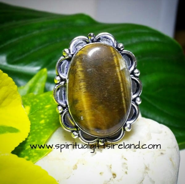 Tigers Eye Gemstone Crystal Courage Ring Sterling Silver