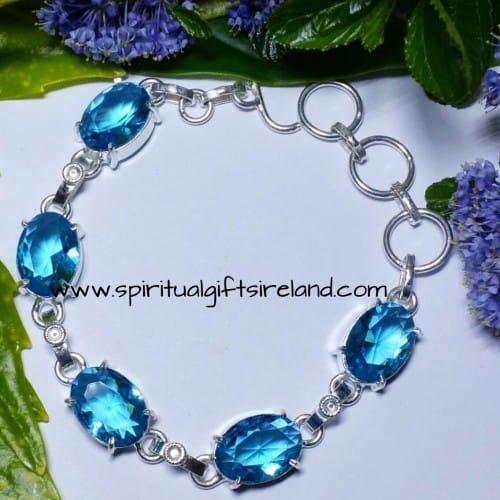 Topaz Blue Sky Crystal Gemstone Bracelet Sterling Silver