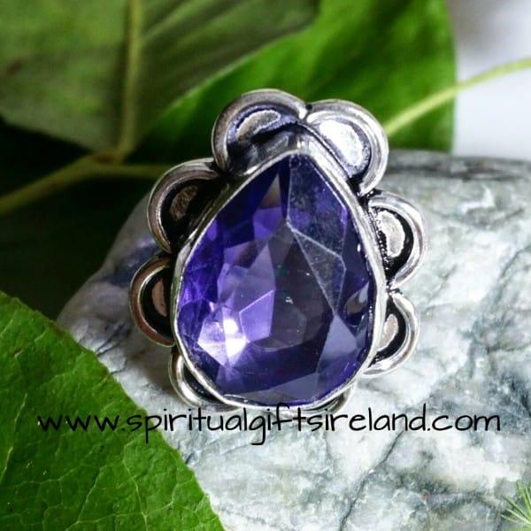 Water Sapphire Iolite Crystal Gemstone Sterling Silver Ring