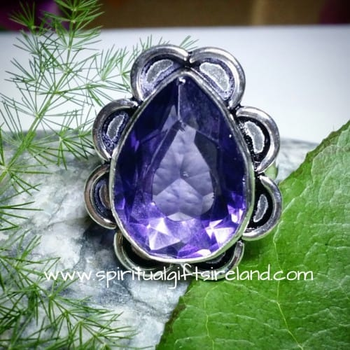 Water Sapphire Iolite Crystal Gemstone Sterling Silver Ring