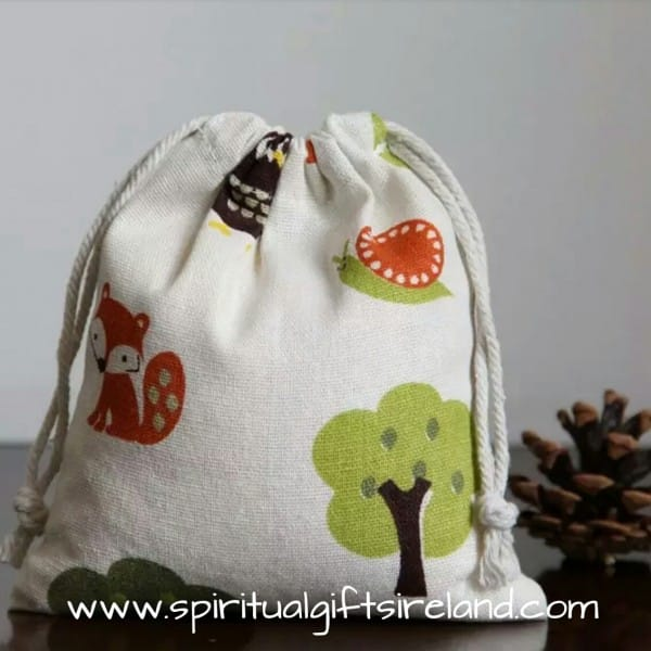 Cotton Drawstring Gift Bag Woodland