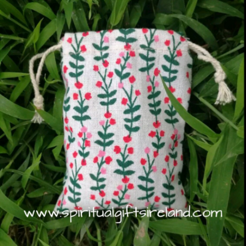 Flower Print Cotton Linen Drawstring Pouches