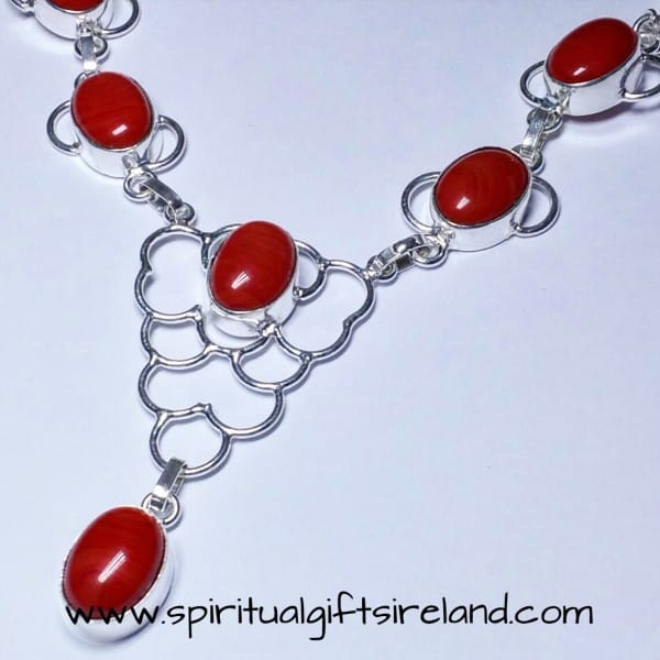 Red Agate Crystal Gemstone Necklace
