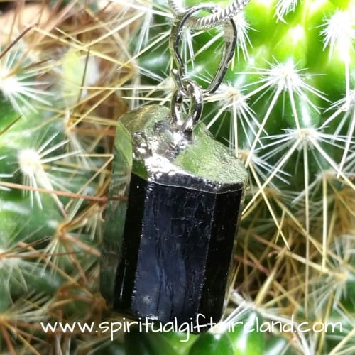 Black Tourmaline Raw Crystal Pendant
