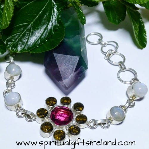 Rainbow Moonstone Crystal Flower Bracelet