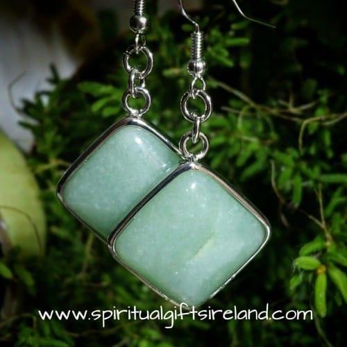 Aventurine Crystal Cube Earrings