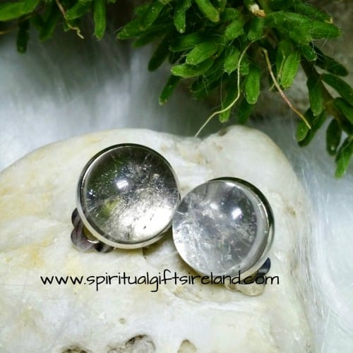 Clear Quartz Clip On Earrings