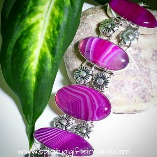 Purple Agate Sterling Silver Bracelet