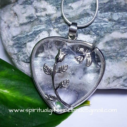 Clear Quartz Crystal Heart Pendant