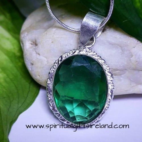 Green Quartz Necklace Sterling Silver