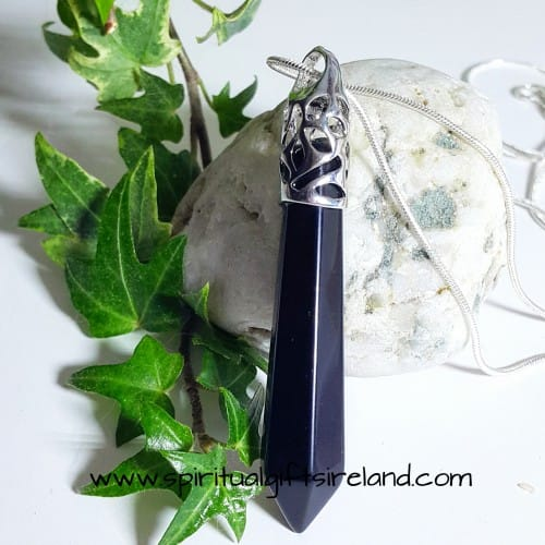 Black Obsidian Necklace Crystal Wand