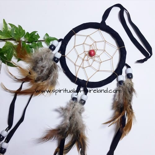 Dreamcatcher Black Fluffy Feathers With Beads