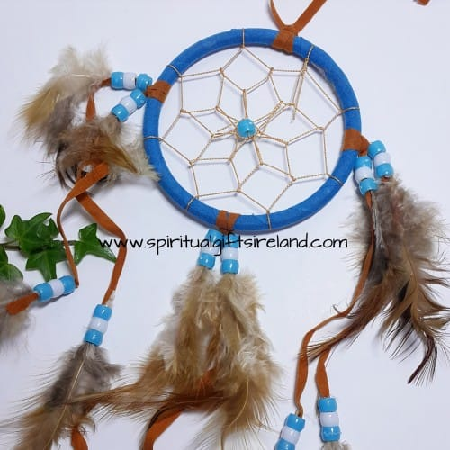 Dreamcatcher Blue Fluffy Feathers With Beads