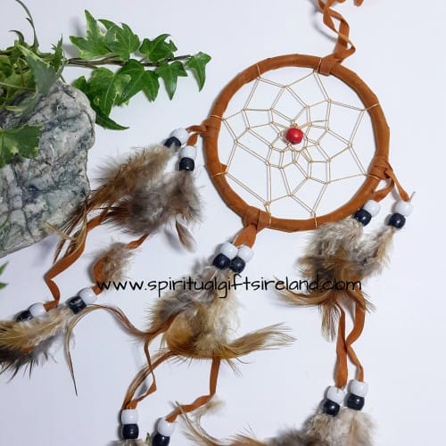 Dreamcatcher Brown Fluffy Feathers With Beads
