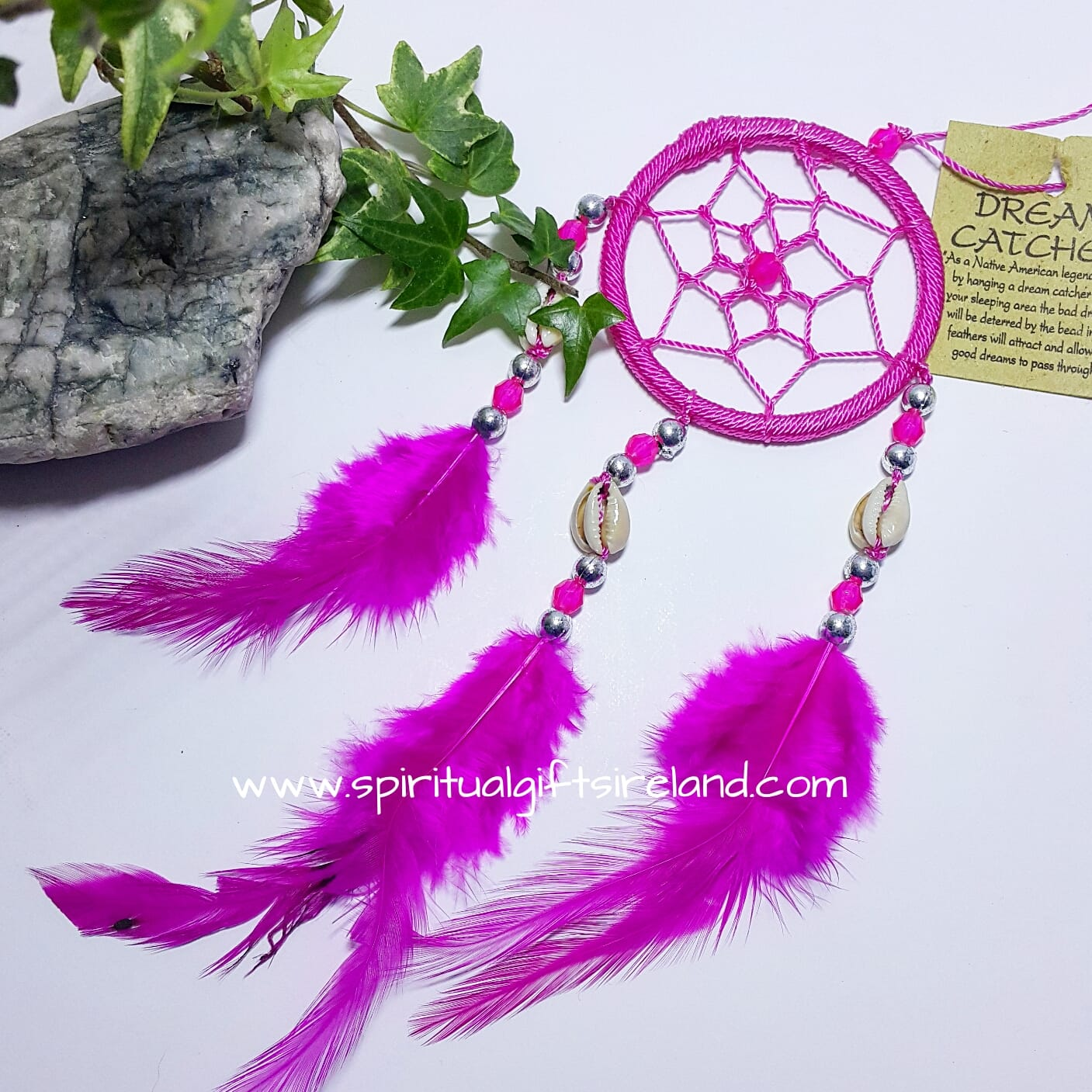 Dreamcatcher Pink Fluffy Feathers With Shells