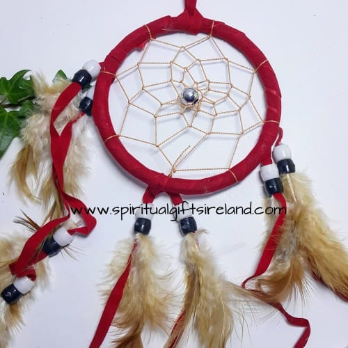 Dreamcatcher Red Fluffy Feathers With Beads