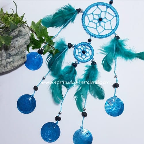 Dreamcatcher Turquoise Shells Teal Fluffy Feathers