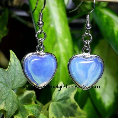 Opalite Earrings Silver Hearts